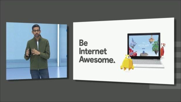 "Google CEO Sundar Pichai at Google I/O 2018 beside a ""be internet awesome"" slogan"