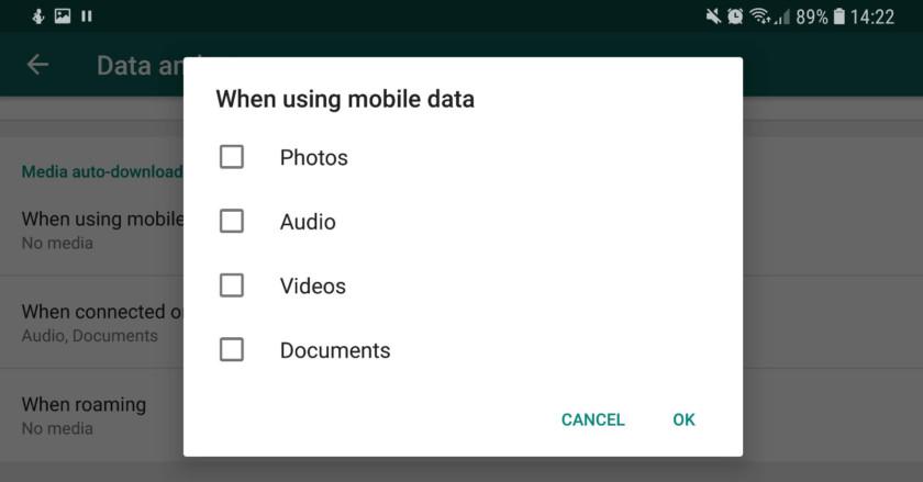 Mobile data settings for WhatsApp - whatsapp tricks