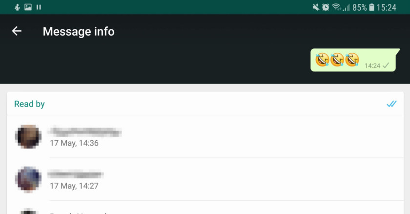 A menu in WhatsApp, showing who's read your message - whatsapp tricks
