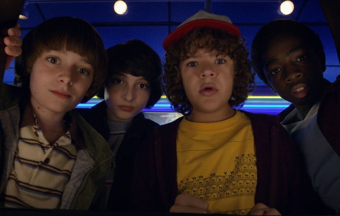 An image of the four principal cast members of the show Stranger Things.