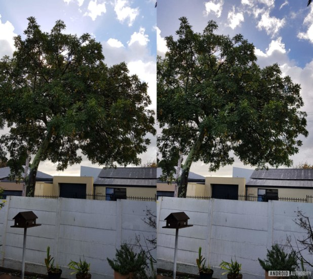 A comparison between an HDR image (R) and a standard photo.
