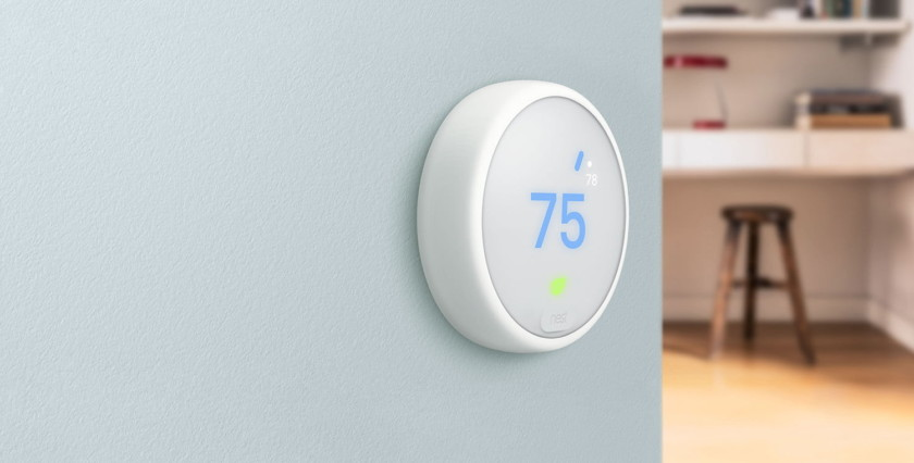 The Nest Themostat E Alexa compatible thermostat.