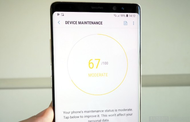 Device Maintenance options on Galaxy Note 8
