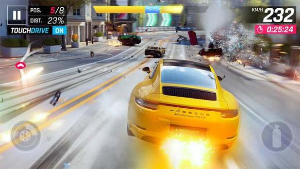 This is a screenshot of Asphalt 9, one of the best arcade games for android