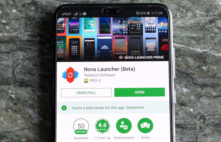 Nova Launcher listing in the Google Play app