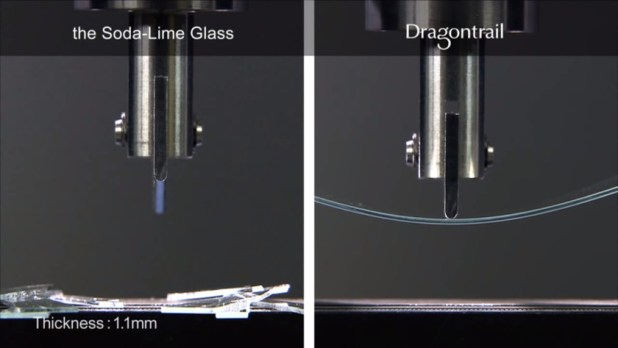Soda-lime glass vs Dragontrail Glass durability test.