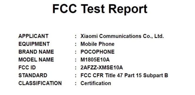 Xiaomi POCOPHONE on the FCC website.