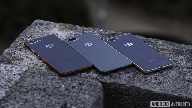 All three Blackberry Key2 LE color models showing backs, cameras, and convenience buttons