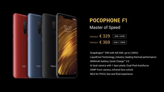 An image detailing the Xiaomi Pocophone F1 price in Europe.