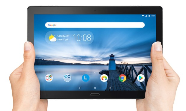 An official image of two hands holding a Lenovo Tab P10.