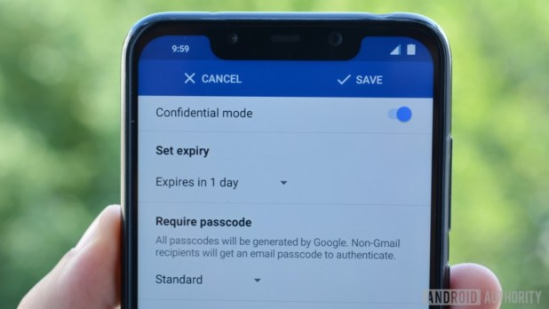 confidential mode settings in gmail for android
