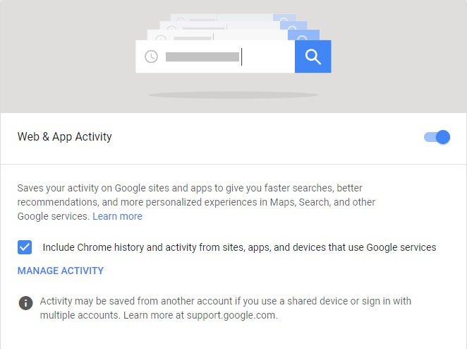 Google Web & App Activity Feature
