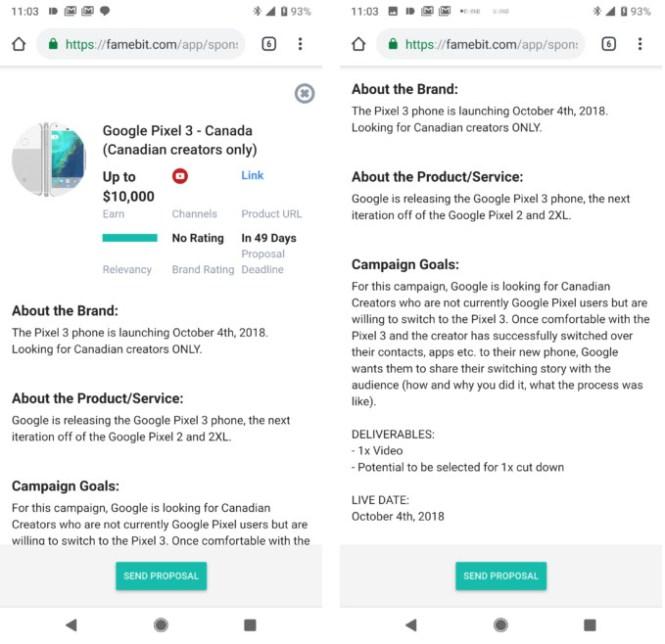 Famebit listing for Google Pixel 3.