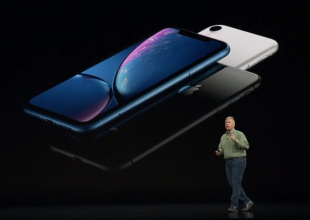 The Apple iPhone XR as depicted on stage during the Apple Event 2018.