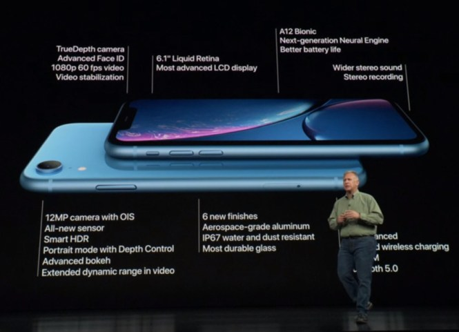 An image of the Apple iPhone XR in blue with some relevant specs highlighted.