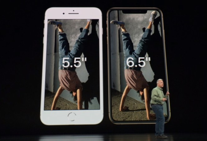 An Apple iPhone XS Max as compared to an iPhone 8 Plus.