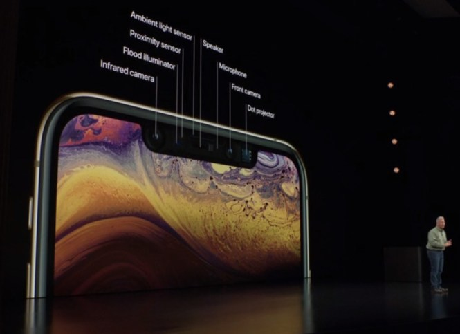 A shot detailing the front-facing sensors on the Apple iPhone XS.