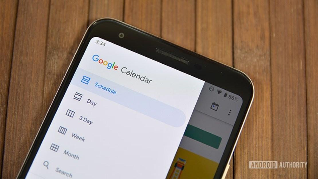 A photo from Google Calendar 2019