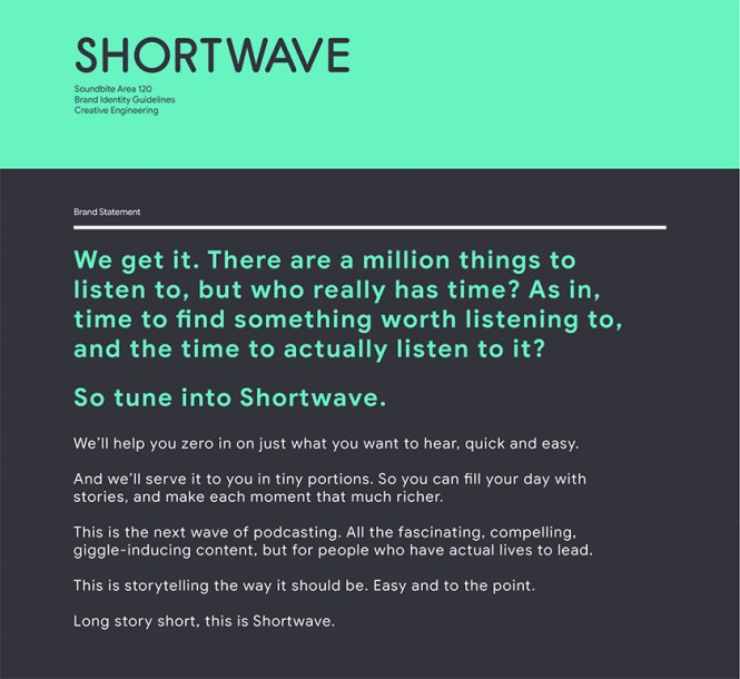 A leaked image of the Google Shortwave mission statement.