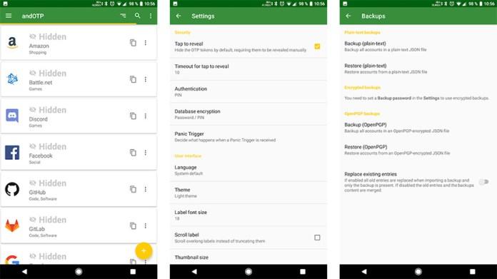 andOTP - melhores aplicativos de autenticação de dois fatores