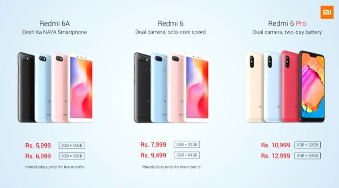 A price sheet for the Xiaomi Redmi 6 series.