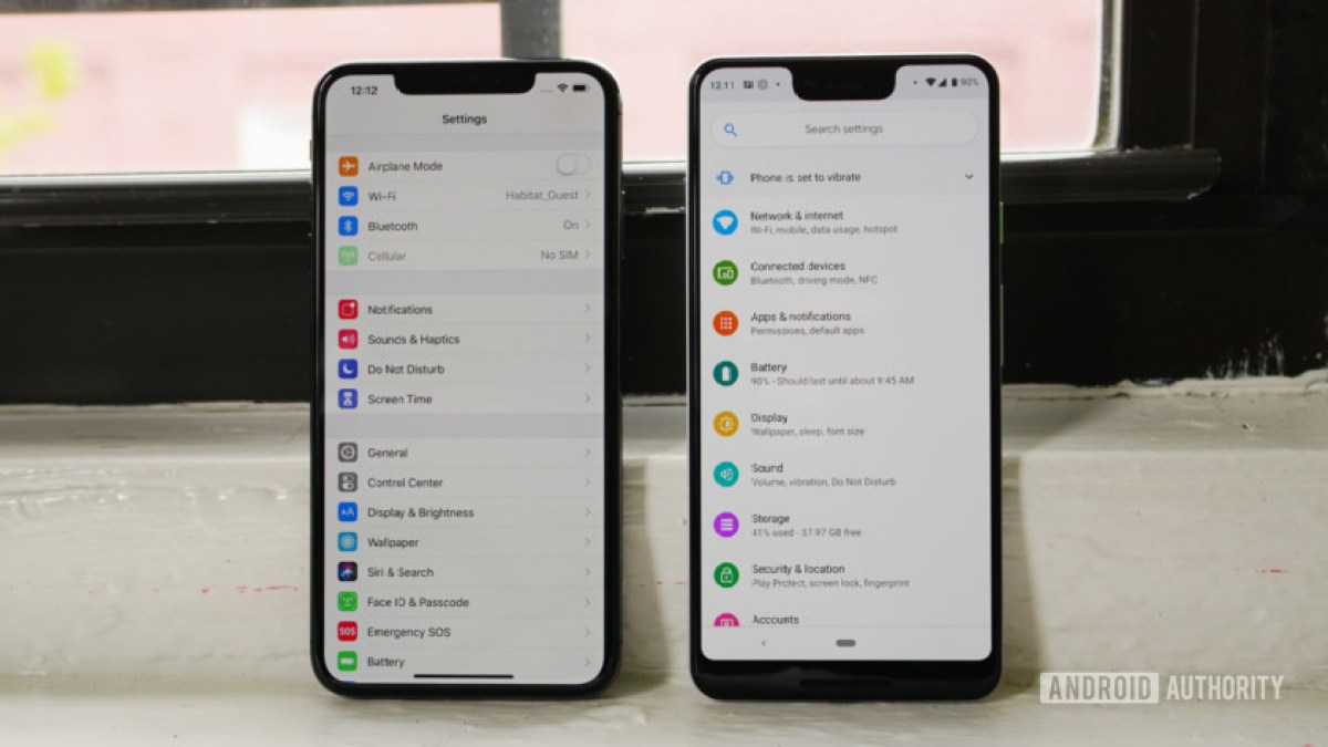 Apple iPhone Xs Max vs Google Pixel 3 XL - настройки