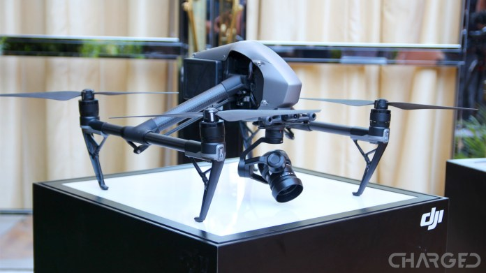 DJI Inspire 2 on a pedestal at the Cendence remote launch event, one of the best camera drones of all