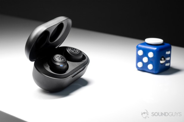 JLab JBuds Air cheap true wireless: The earbuds in the case which is open and angled away (slightly) from the lens.