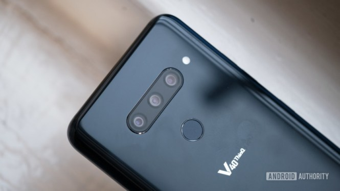 LG V40 ThinQ camera closeup