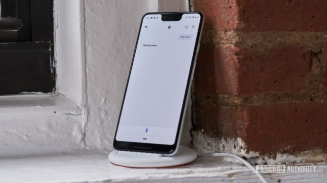 Google Pixel 3 on Pixel Stand with Google Assistant
