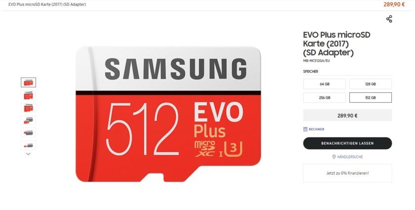 Samsung 512GB memory card