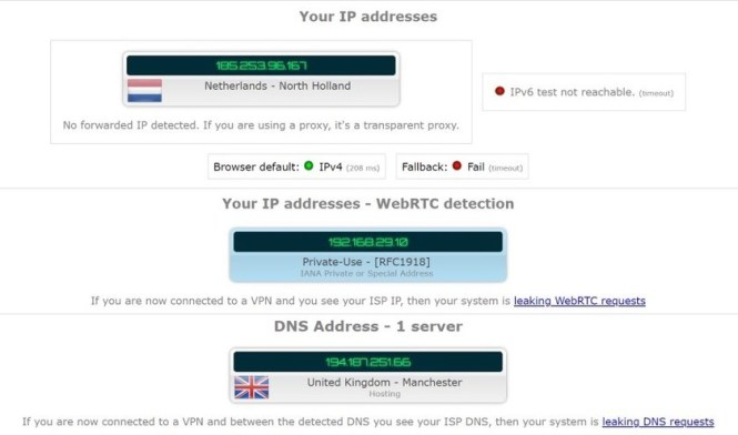 cyberghost vpn ip and dns leak test
