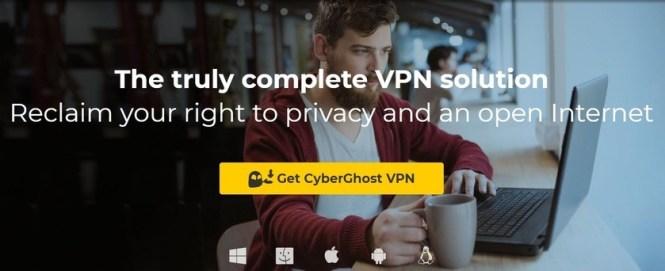 cyberghost vpn app options