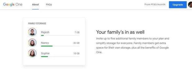 Google One family sharing feature