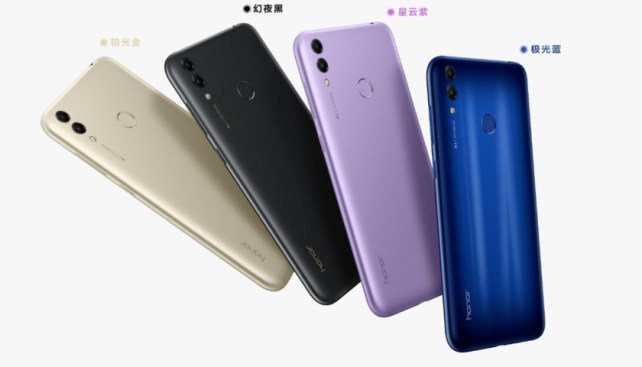 The Honor 8C in various colors.