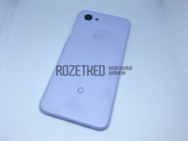 Photo of the backside of a blue Google Pixel 3 Lite