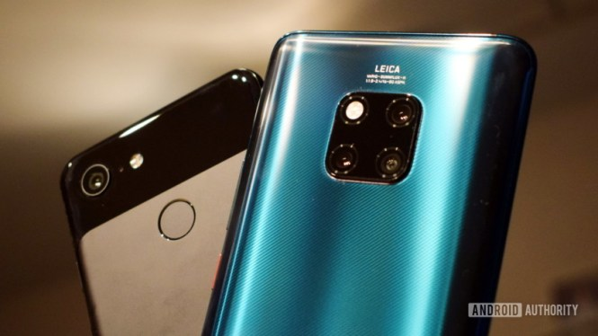 Huawei Mate 20 Pro and Google Pixel 3 back