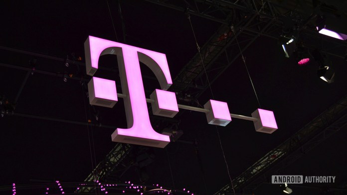 The T-Mobile logo at MWC 2018.