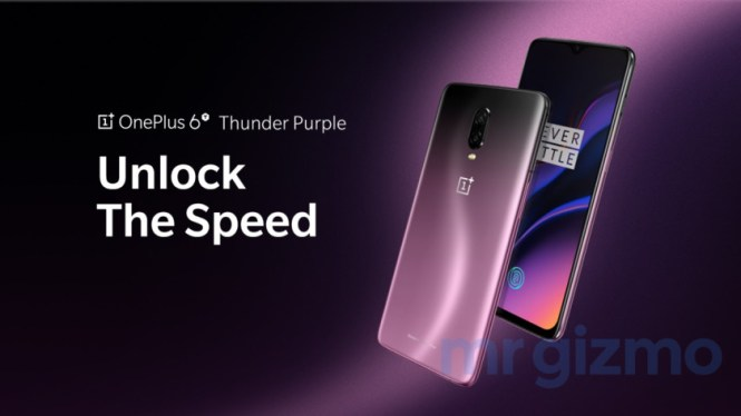 The OnePlus 6T in Thunder Purple in a press render.