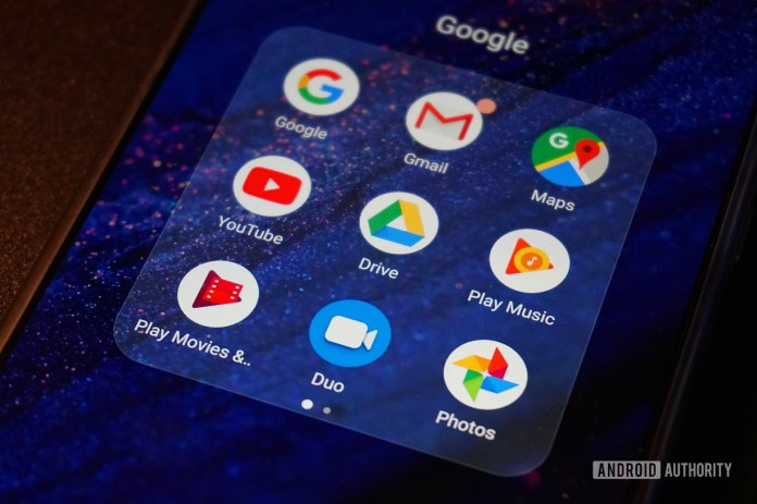 Google app icons on a smartphone display