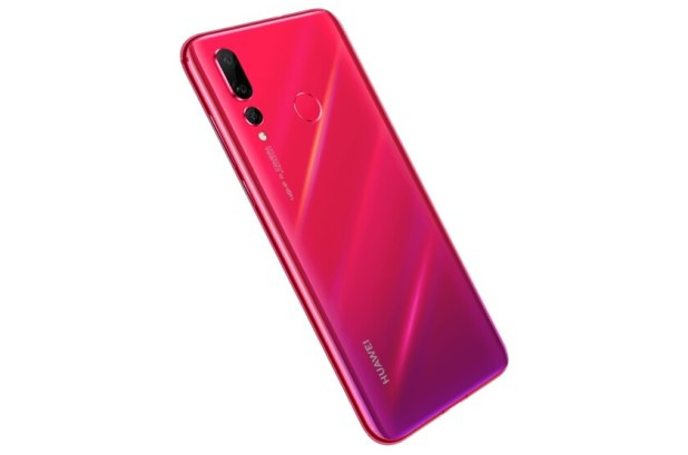 The Huawei Nova 4 smartphone in red from behind.