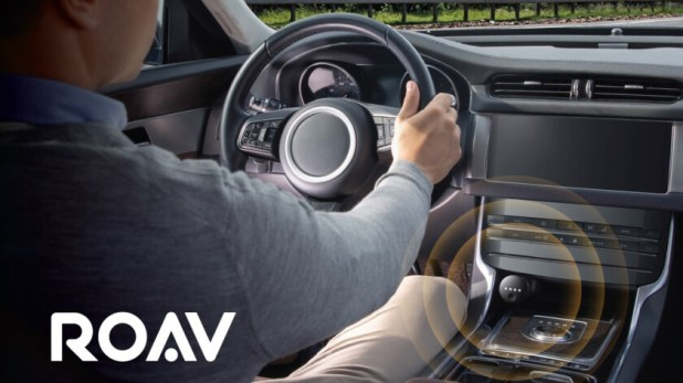 A promotional image of the Anker Roav Bolt in an automobile.