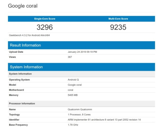 Geekbench results for the Google Coral.