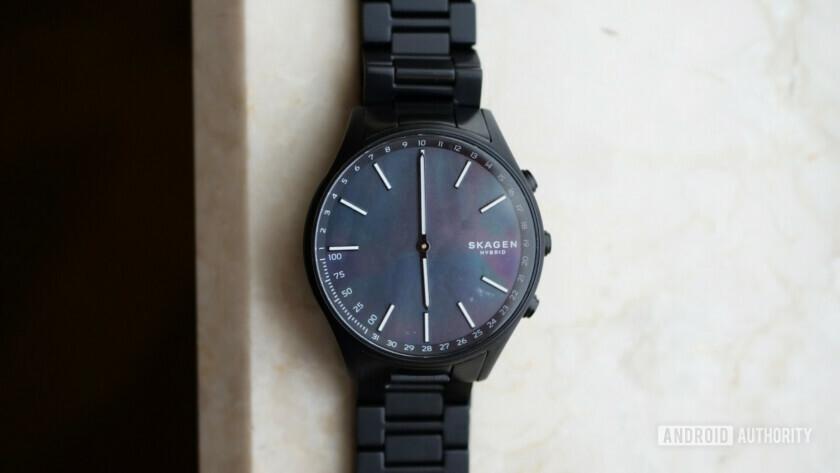 Black on black Skagen Holst hybrid watch at CES 2019