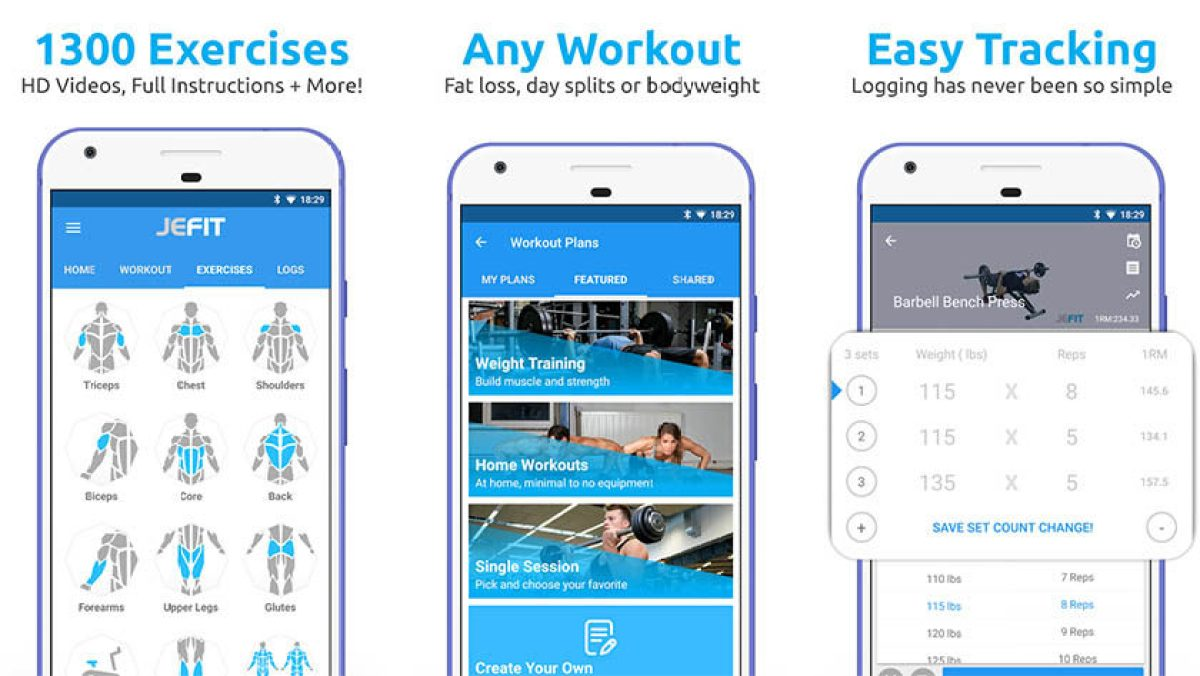 JEFIT Workout Tracker - best fitness apps and best workout apps for android