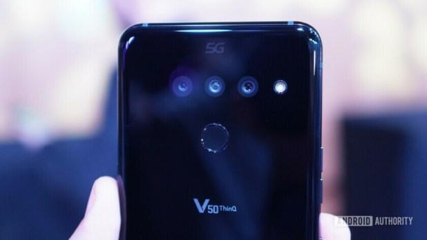 LG V50 ThinQ 5G logo closeup