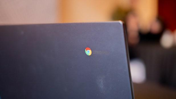 The Chrome logo on the back of a Chromebook.