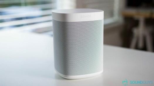 Sonos One Alexa speaker image on white desk.