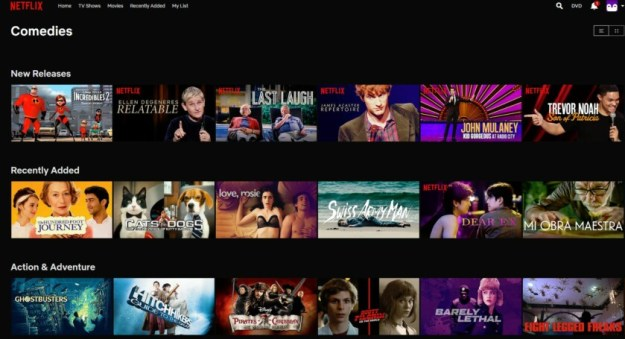 Screenshot of Netflix movie comedies