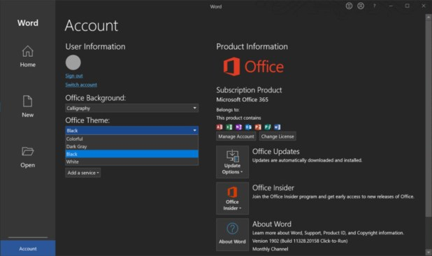 Microsoft Word account settings - How to enable dark mode in Windows 10
